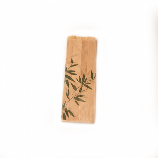 Sachets sandwiches en papier écru 7+4x22 cm personnalisés avec votre logo 2 couleurs (dès 8 cartons)