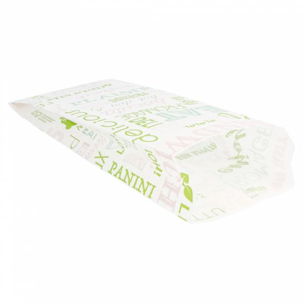 Sachets sandwiches en papier blanc 9+4x22 cm personnalisés avec votre logo 2 couleurs (dès 8 cartons)