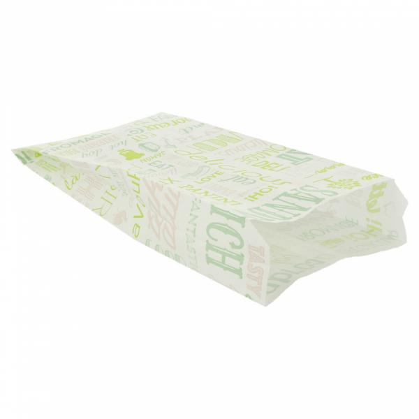 Sachets sandwiches en papier blanc 12+4x26 cm personnalisés avec votre logo 2 couleurs (dès 8 cartons)
