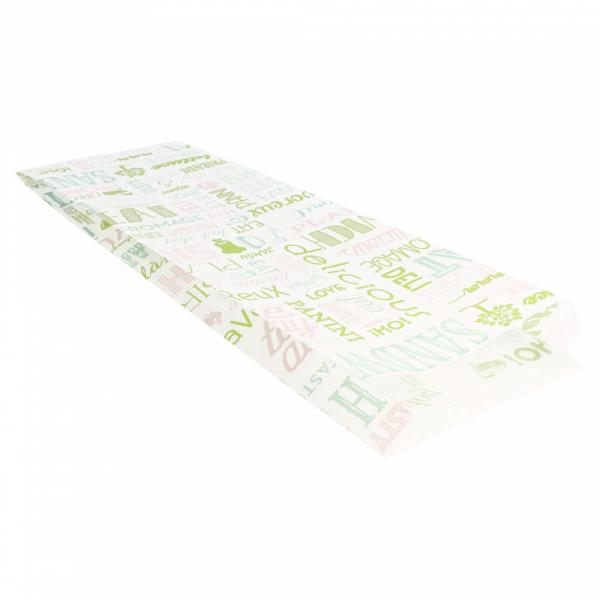 Sachets sandwiches en papier blanc 12+4x35 cm personnalisés avec votre logo 2 couleurs (dès 8 cartons)
