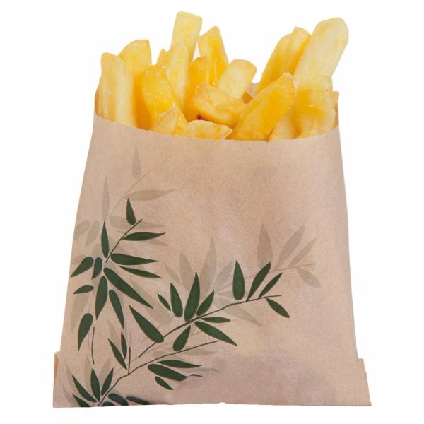 Sachets pour frites en papier écru 12x12 cm personnalisés avec votre logo 2 couleurs (dès 4 cartons)