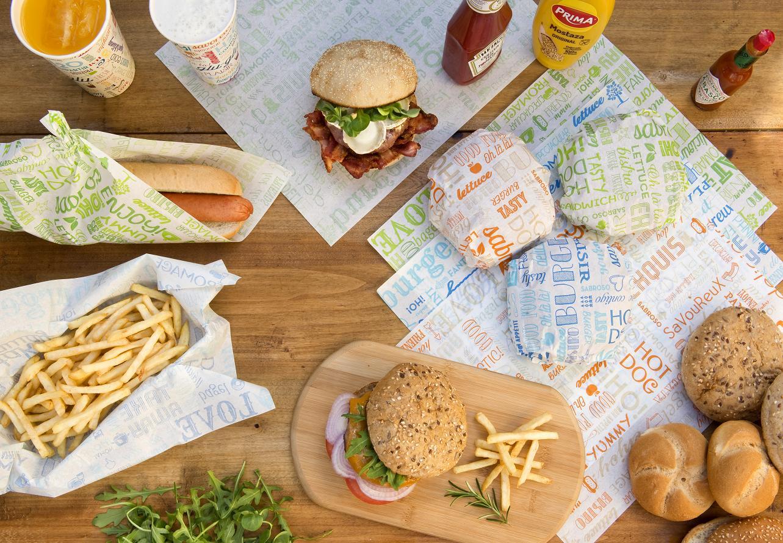Feuilles en papier blanc 28x34 cm pour burgers personnalisées avec votre logo 1 couleur (dès 7 cartons)