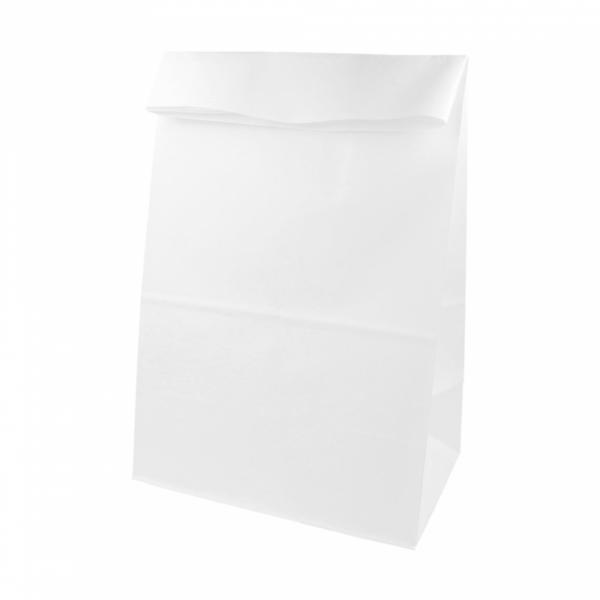 Sacs SOS en papier blanc 22+14x37  cm personnalisés avec votre logo 1 couleur (dès 25 cartons)