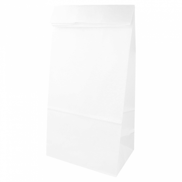 Sacs SOS en papier blanc 20+9x34.5 cm personnalisés avec votre logo 2 couleurs (dès 25 cartons)