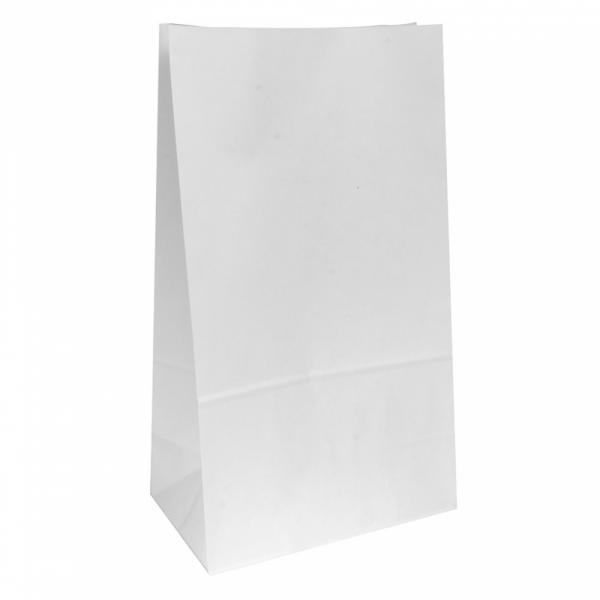 Sacs SOS en papier blanc 25+15x43.5 cm personnalisés avec votre logo 2 couleurs (dès 25 cartons)