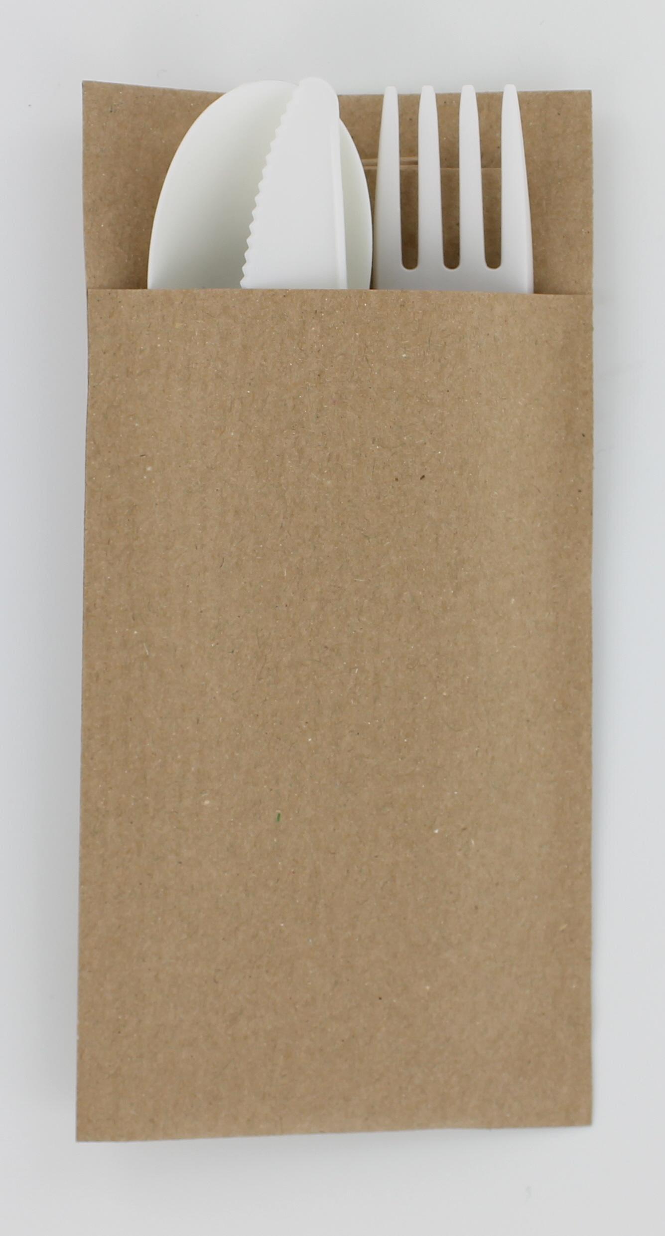 Pochette en papier recyclé et ses 3 couverts biodégradables dès 100 pièces
