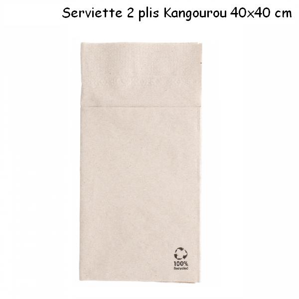 Serviette kangourou écrue 2 plis 40x40 cm en ouate recyclée vendue par 50