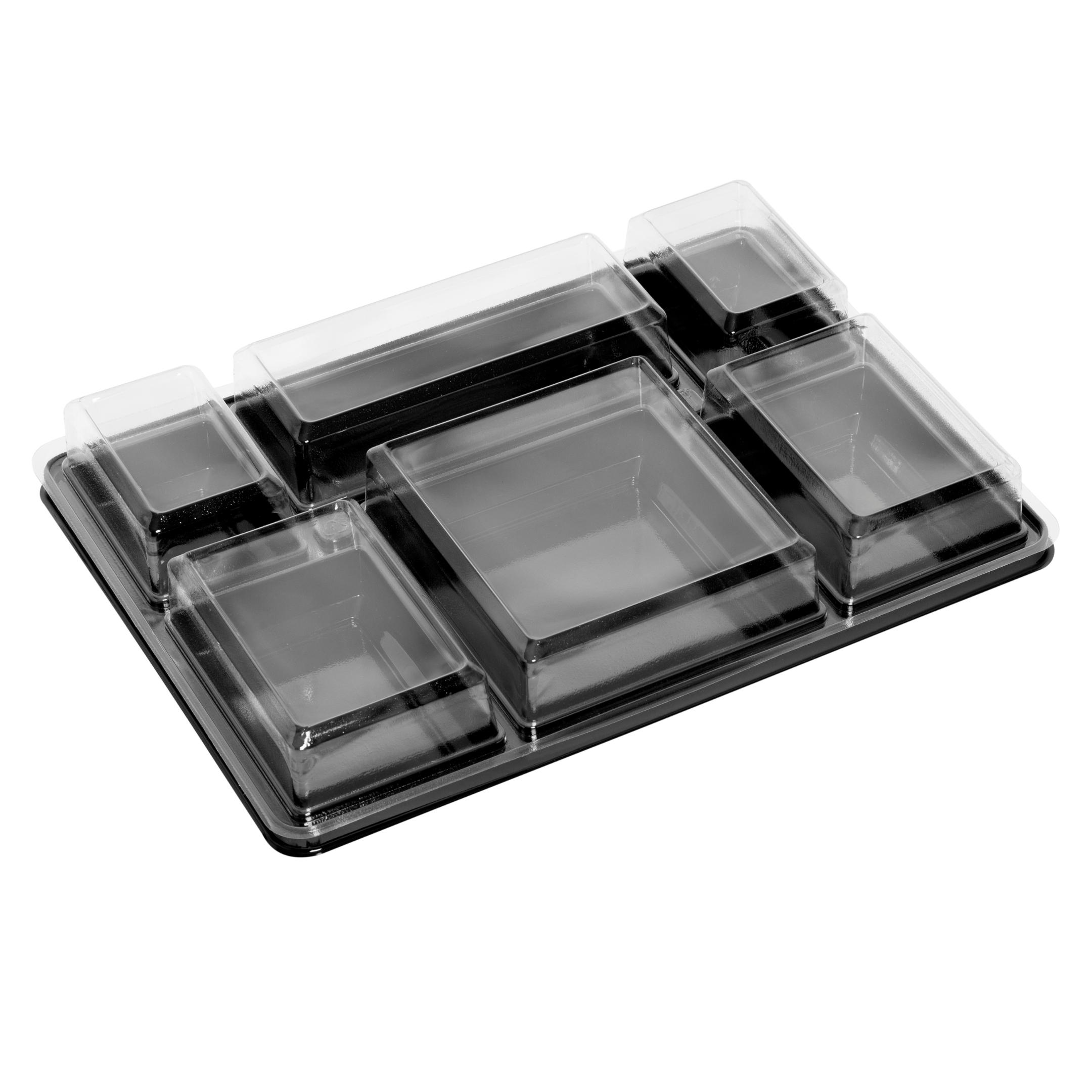 Plateau-repas en plastique recyclable 6 compartiments 380x274x60 mm vendus par 100