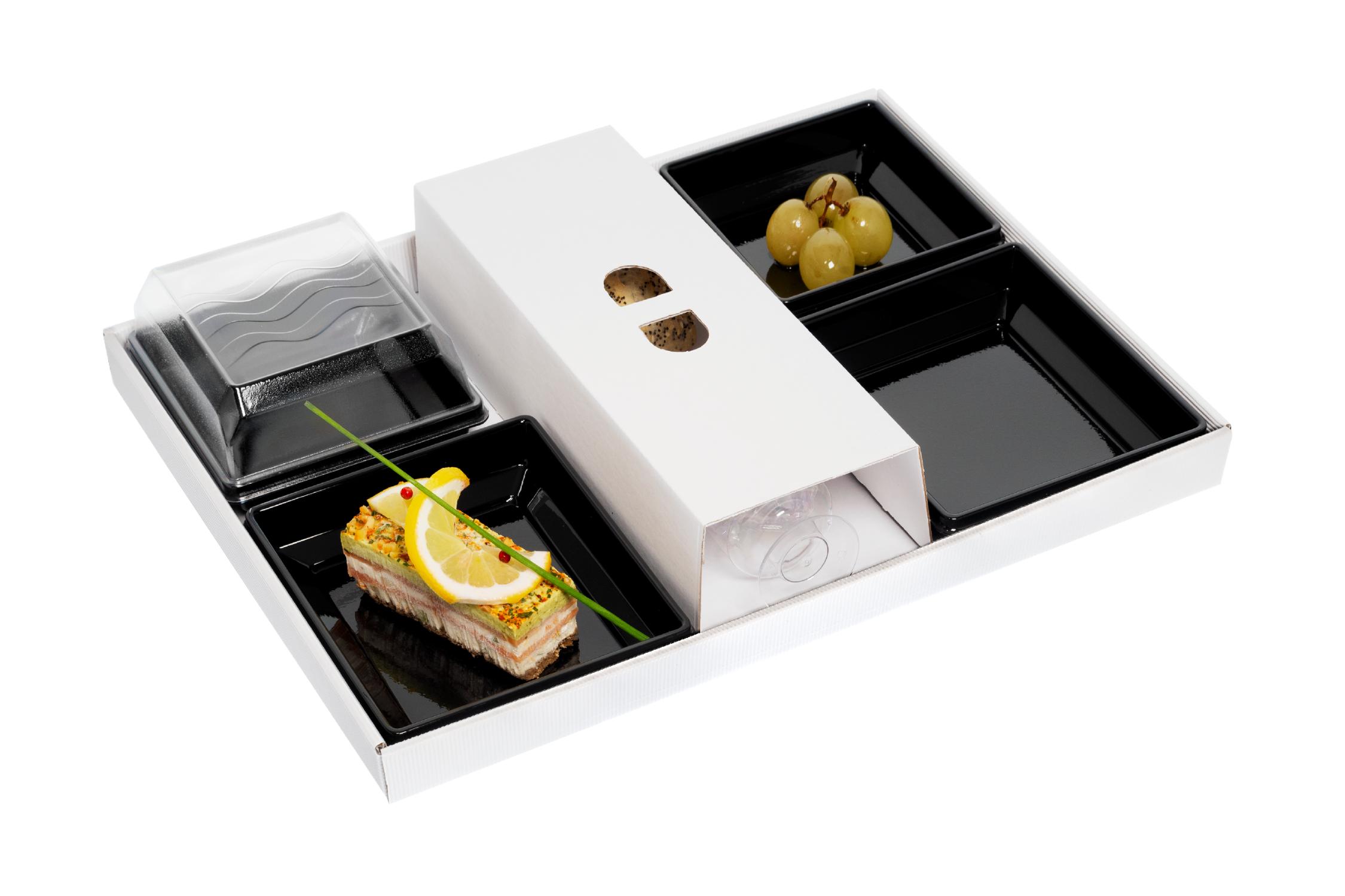 Plateaux-repas écoresponsables 300x400 mm vendus en kit complet de 400 pièces (compo 120)