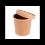 Pot à soupe en carton kraft 360 ml couvercle ouvert-Prosaveurs