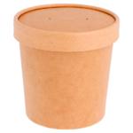 Pot à soupe en carton kraft 780 ml couvercle fermé-ProSaveurs