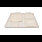 Plateau-repas écologique 300x400 mm en cannelure apparente blanche - Assiettes bio en pulpe de canne- Kit A - ProSaveurs.com