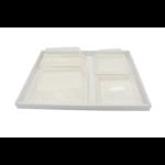 Plateau-repas écologique 300x400 mm en cannelure lisse blanche - Assiettes bio en pulpe de canne- Kit C - ProSaveurs.com
