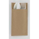 Pochette en papier recyclé et ses couverts biodégradables 3en1