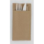 Pochette en papier recyclé et ses couverts compostables 2en1