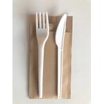 Pochette en papier recyclé et ses couverts biodégradables 2en1