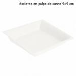 Assiette biodégradable en pulpe de canne à sucre 9x9 cm - ProSaveurs -
