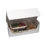 Plateau-repas écologique 330x155 mm blanc avec des barquettes biodégradables - ProSaveurs-