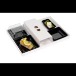 Plateau-repas éco responsable avec ses 4 assiettes en plastique recyclé pleines v4 - ProSaveurs -