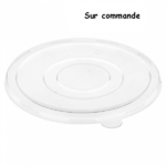 Couvercle plat transparent pour saladier biodégradable en pulpe de 500 ml -2- ProSaveurs