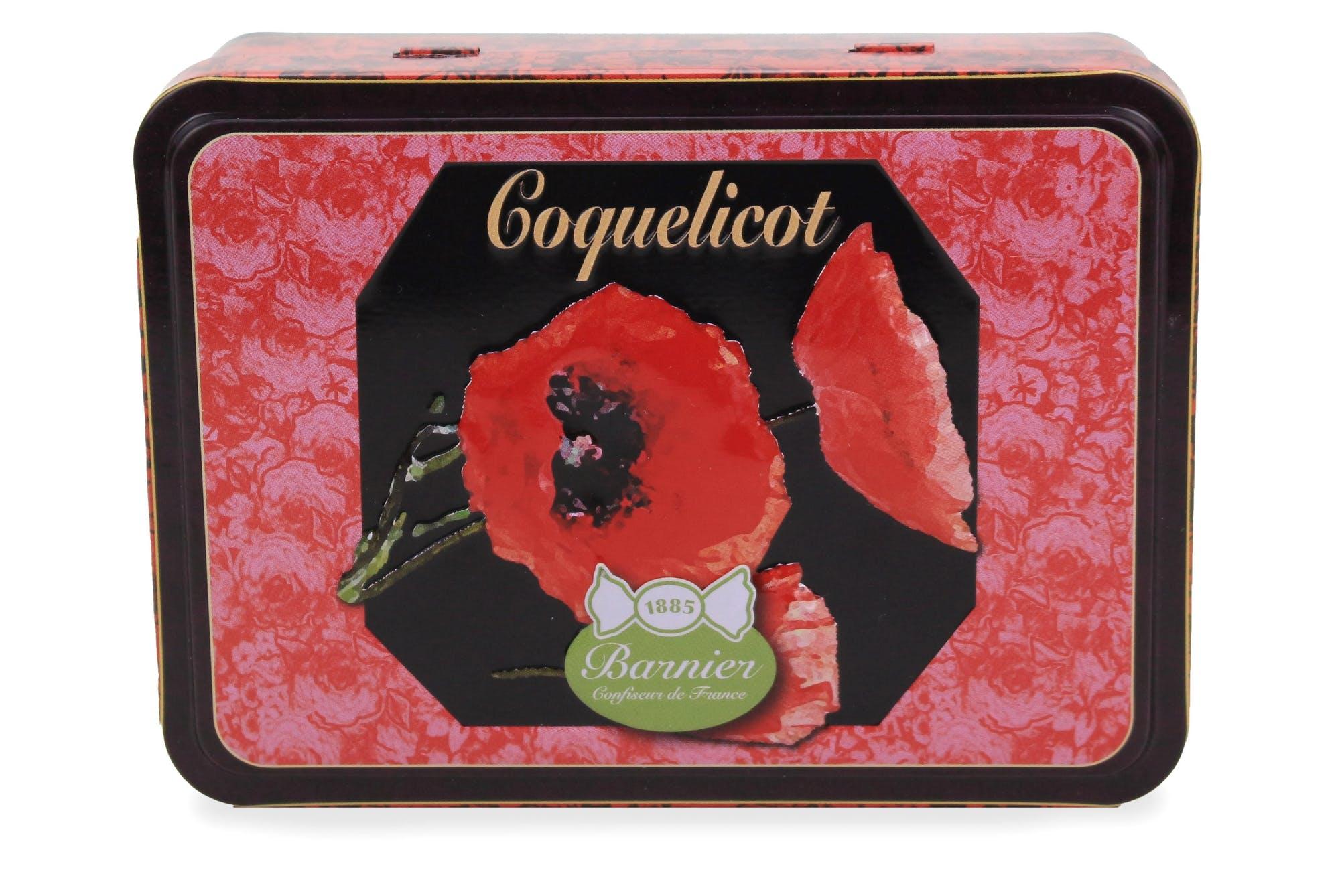 Bonbons Coquelicot givré en boite métal 150g
