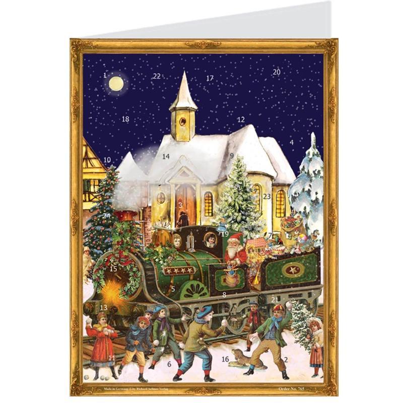 calendrier-carte-postale- train-victorien-retro-vintage