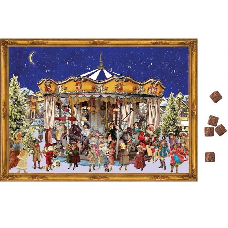 CALENDRIER DE L'AVENT AVEC CHOCOLAT CARROUSEL DE NOËL