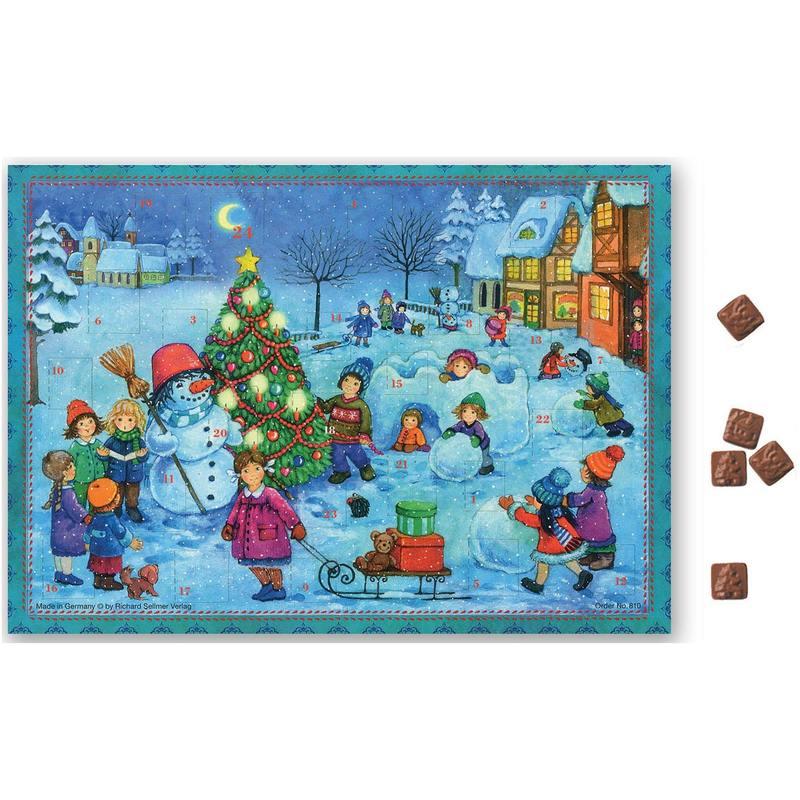Calendrier de l'Avent au chocolat  Joyeuses activités dans la neige