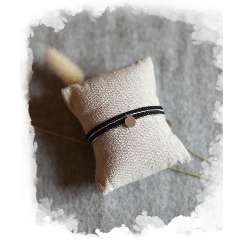 Valentine - Argenté avec corde Noire