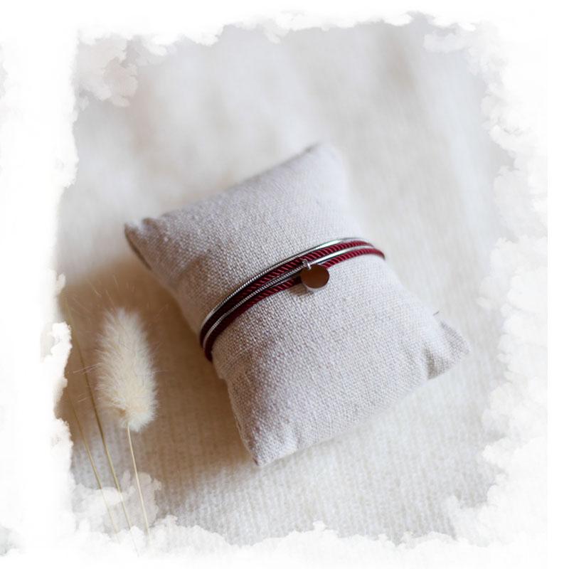 Valentine - Argenté avec corde Bordeaux