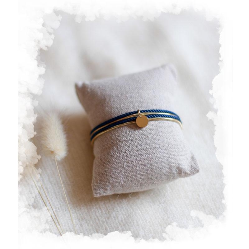 Valentine - Doré avec corde Bleu Canard