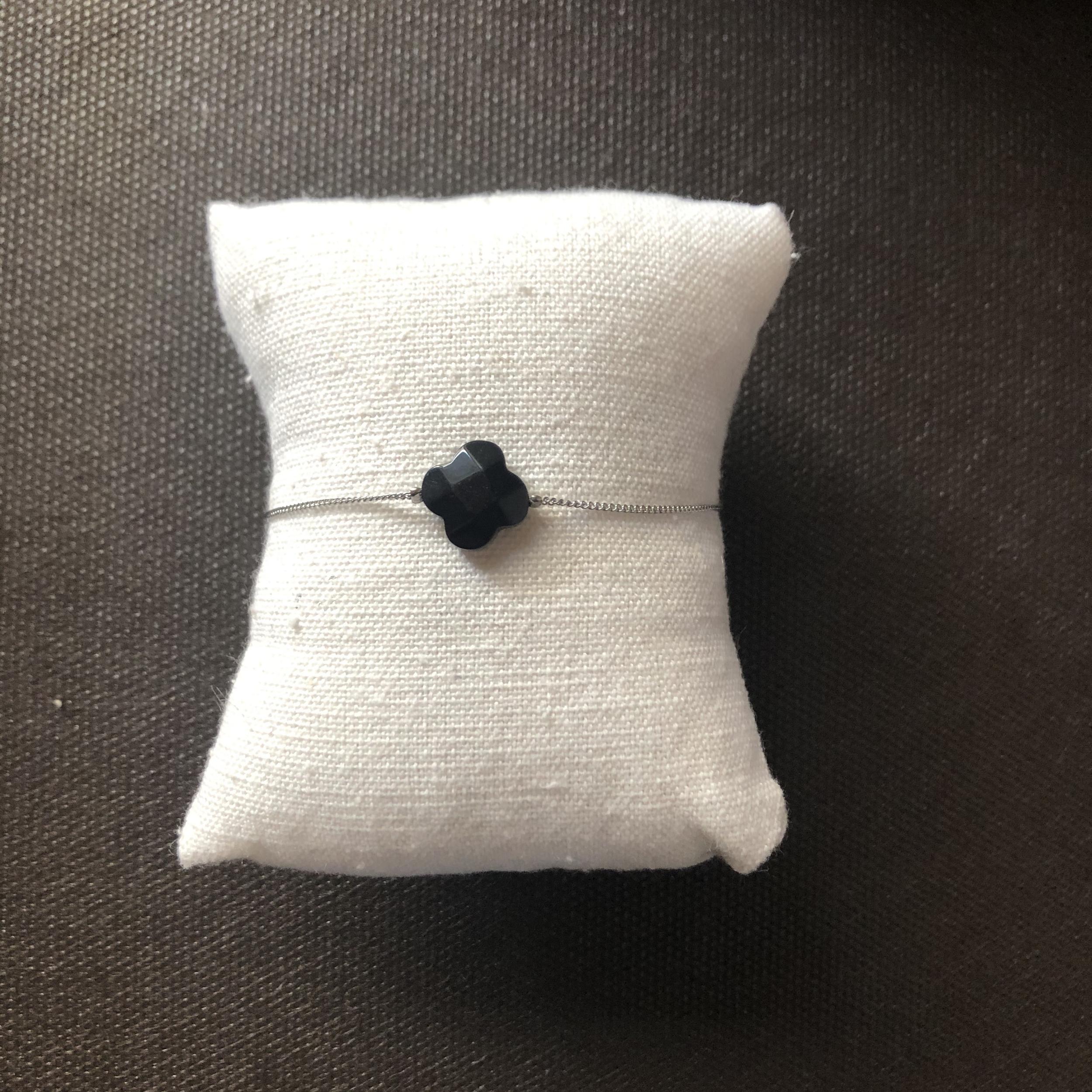 Bracelet Trèfle Noir - Argenté