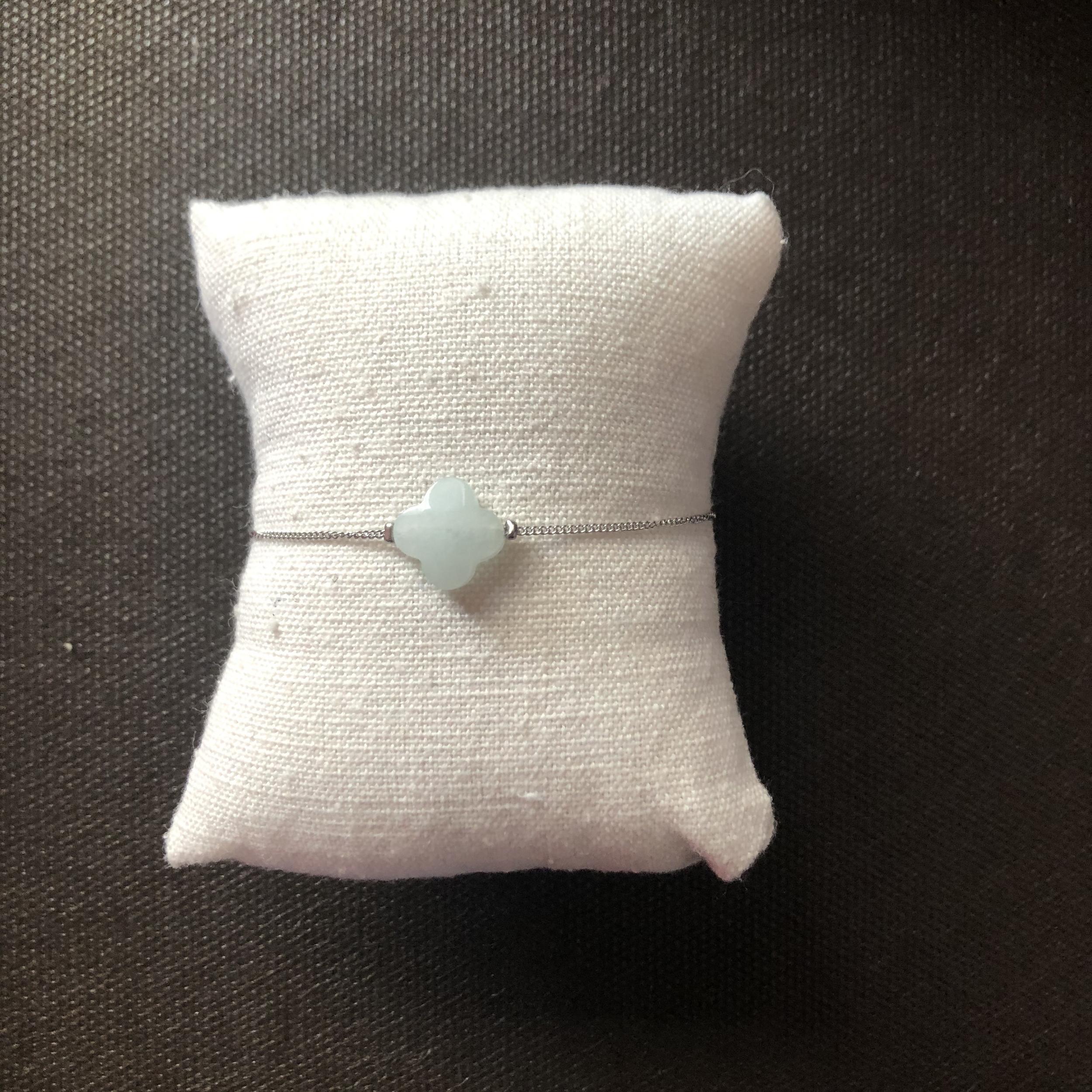 Bracelet Trèfle Vert - Argenté