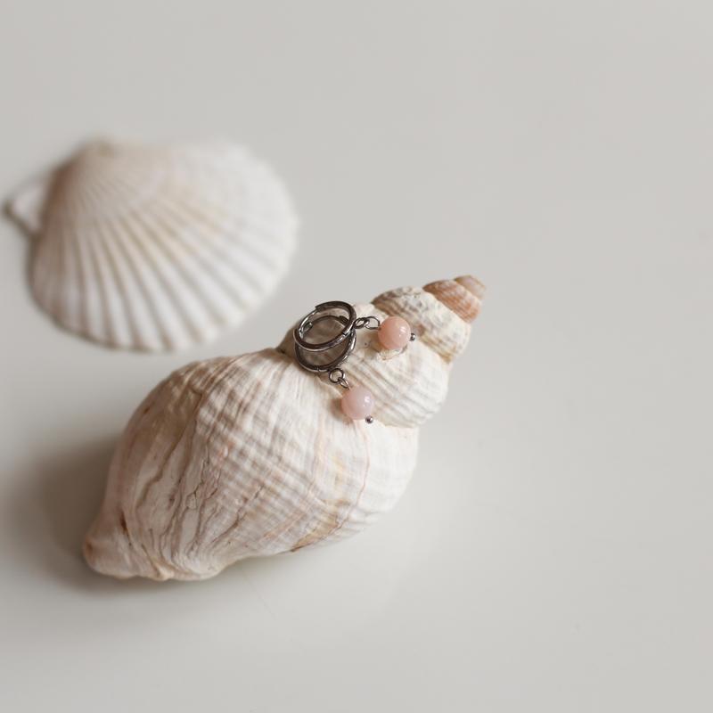 Boucles Héloïse - Argenté/Opale Rose