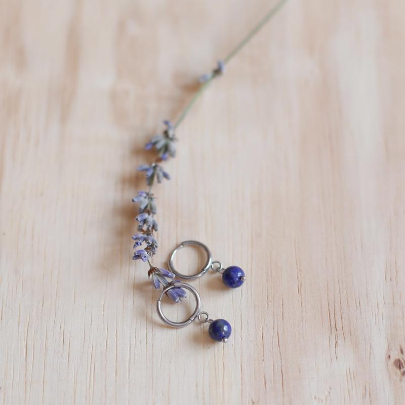 Boucles Héloïse - Argenté/Lapis Lazuli
