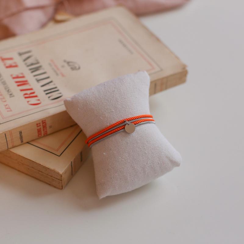 Valentine - Argenté avec corde Orange