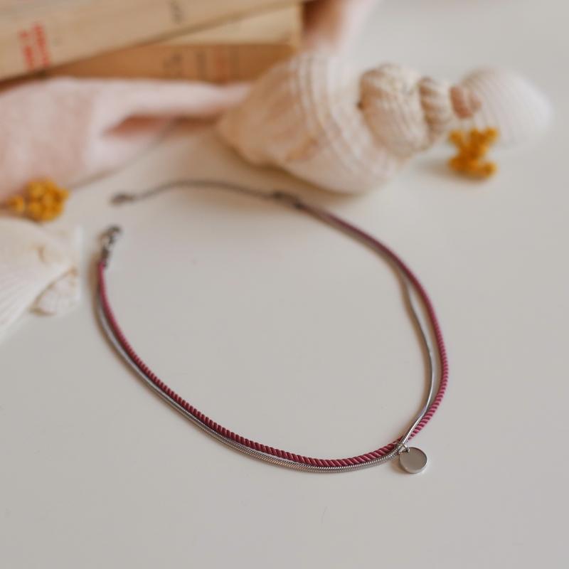 Valentine - Argenté avec corde Vieux Rose