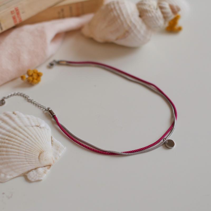 Valentine - Argenté avec corde Bougainvillier