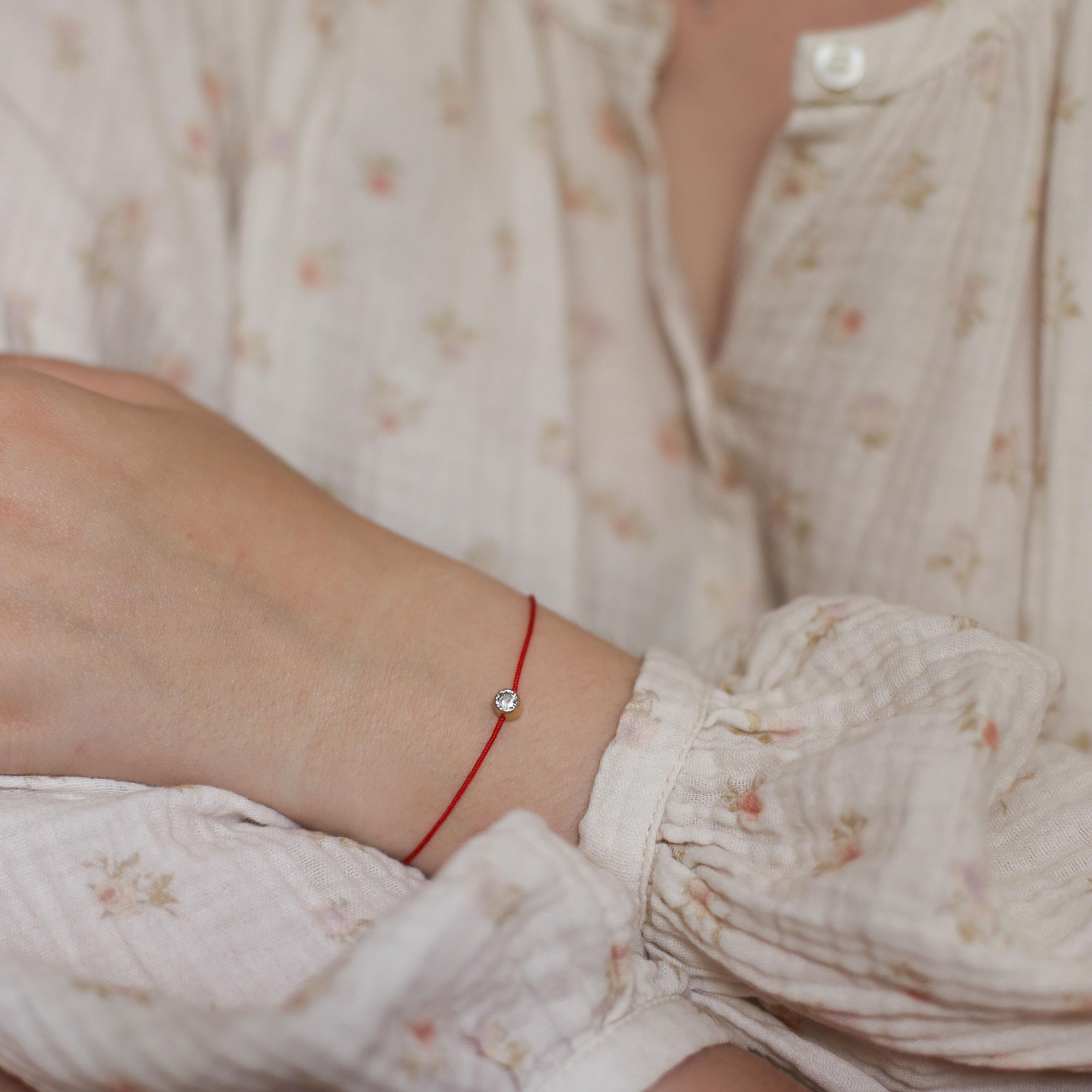 Bracelet Chiara - Doré corde Rouge