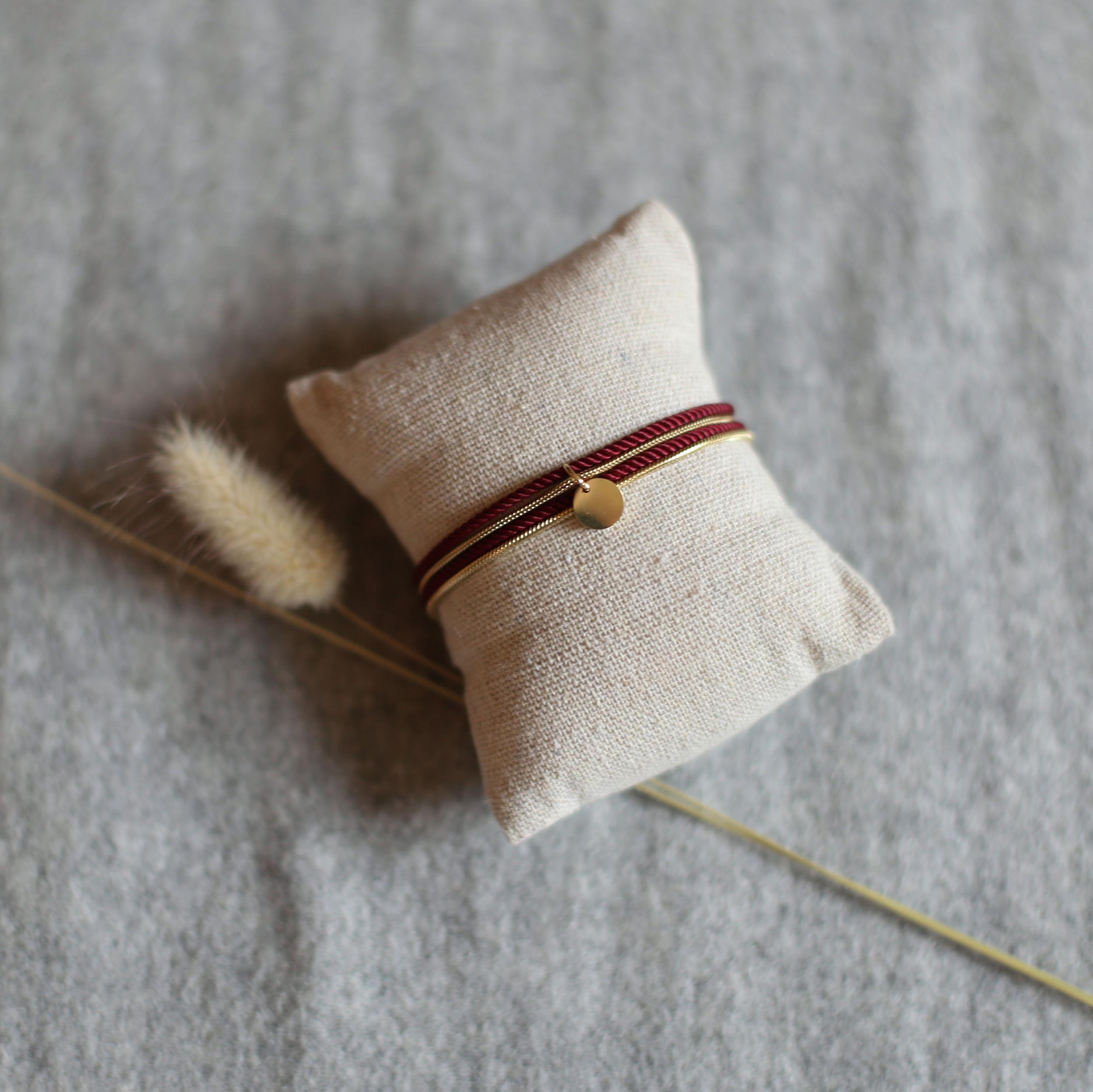 Valentine - Doré avec corde Bordeaux