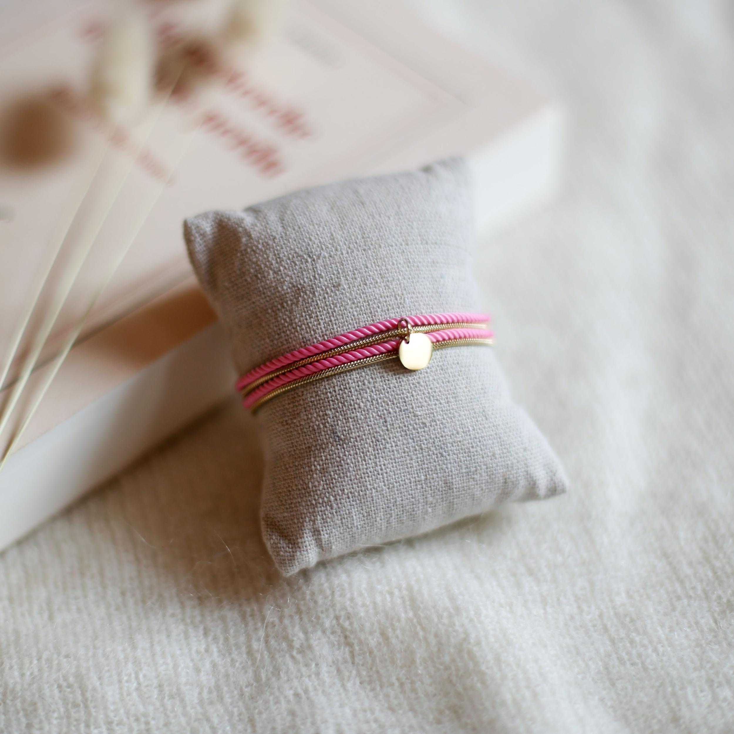 Valentine - Doré avec corde Rose