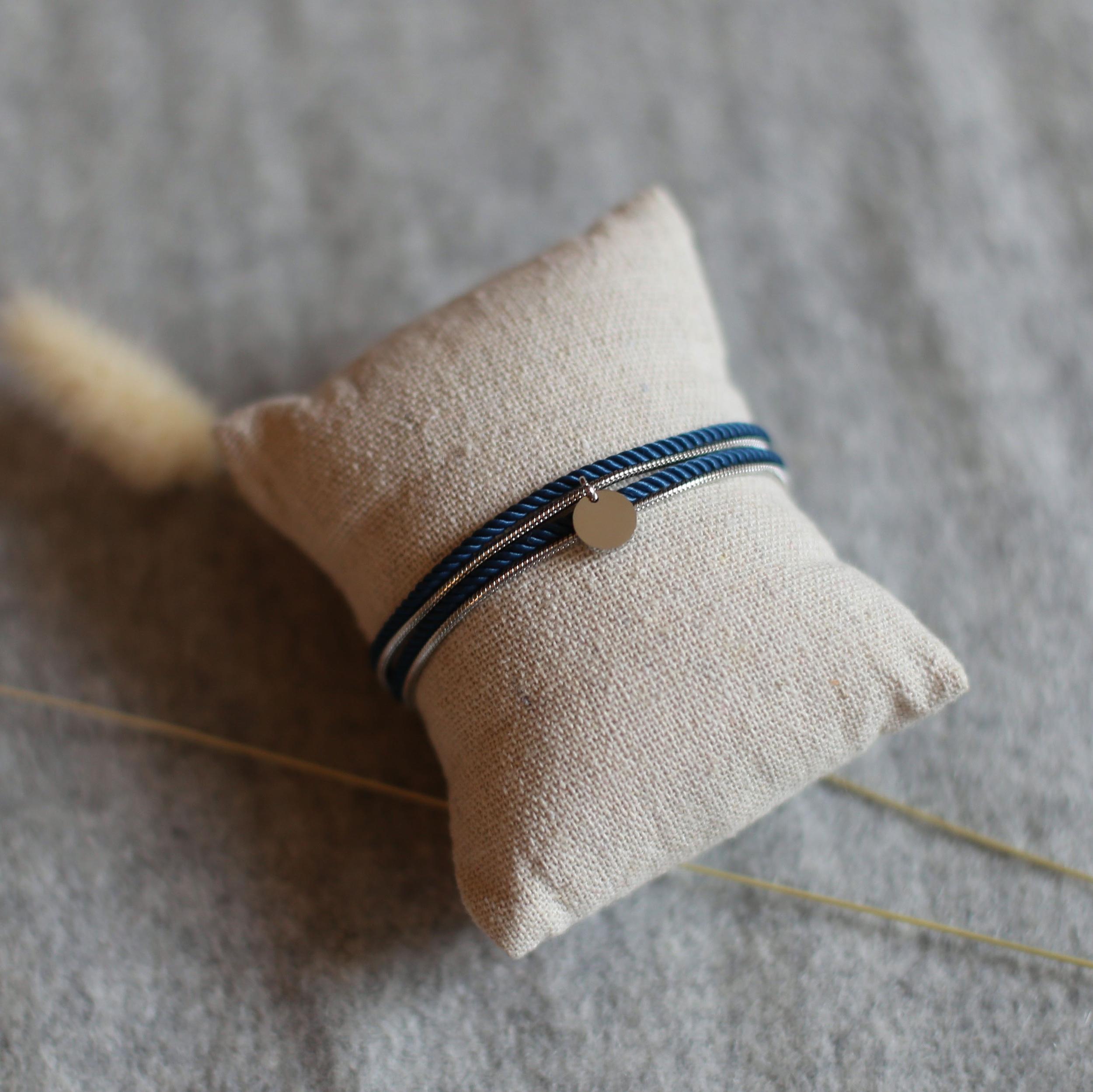 Valentine - Argenté avec corde Bleu Canard