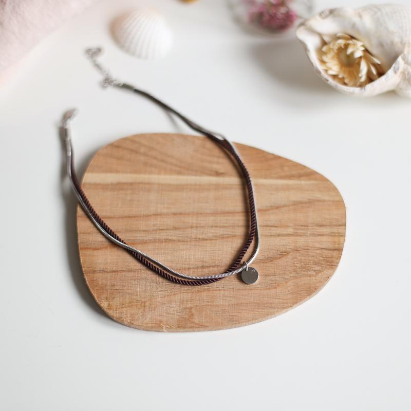 Valentine - Argenté avec corde Chocolat
