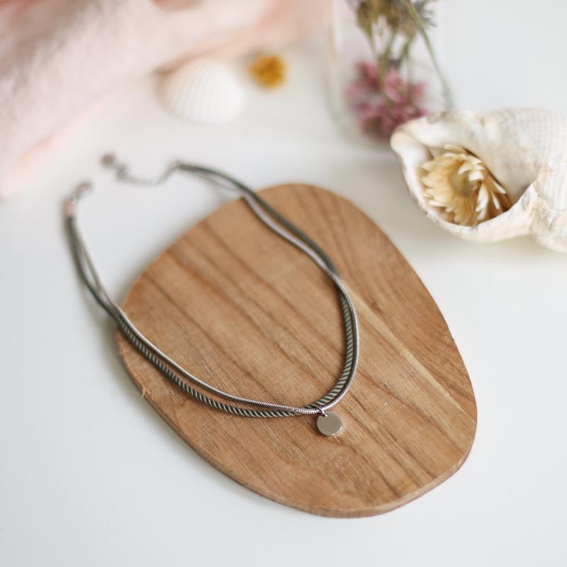 Valentine - Argenté avec corde Olive