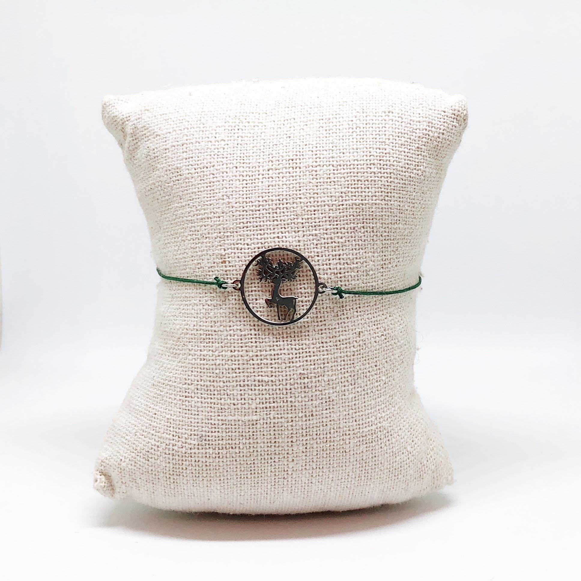 Bracelet Santa - Argenté avec corde Verte