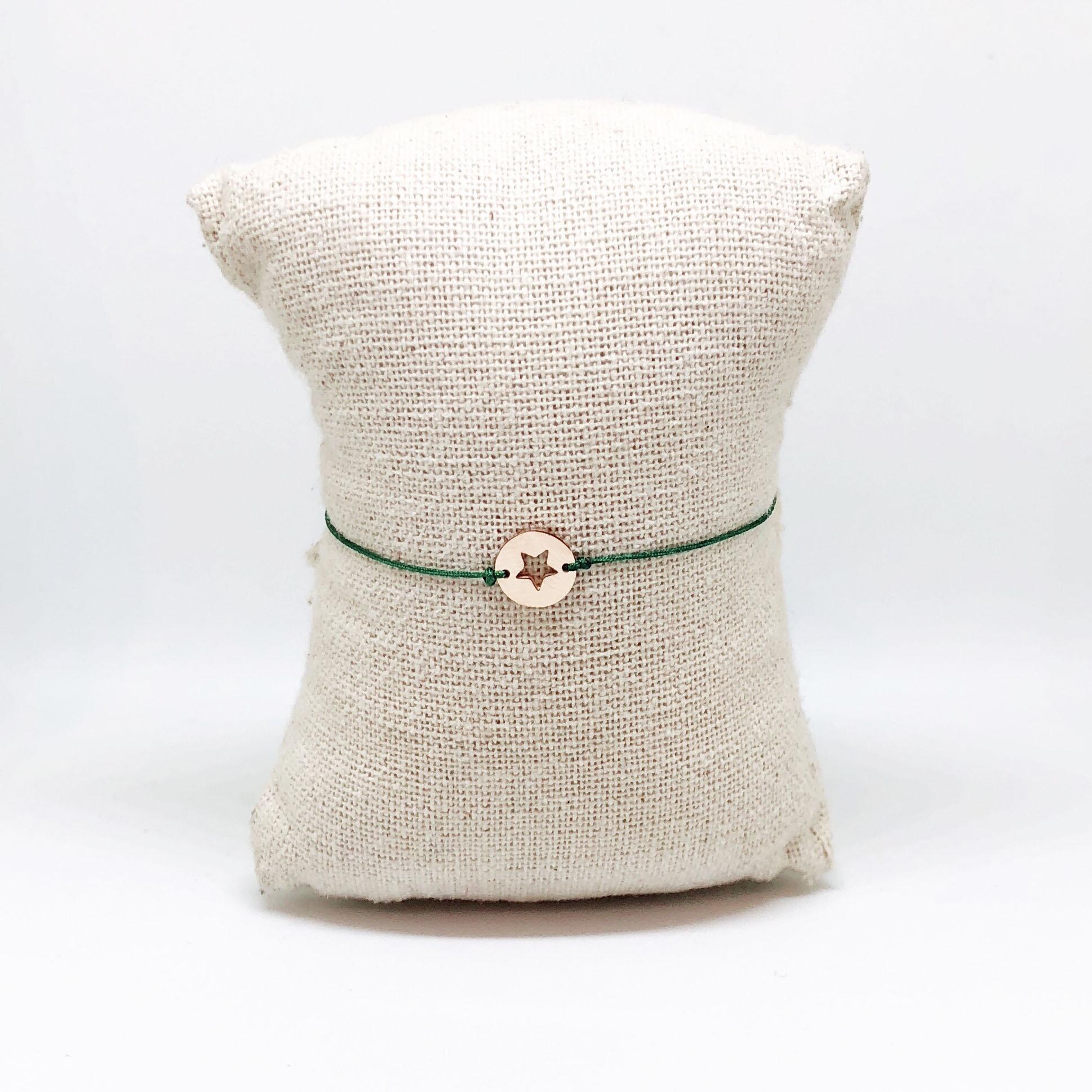 Bracelet Stella - Rosé et corde Verte