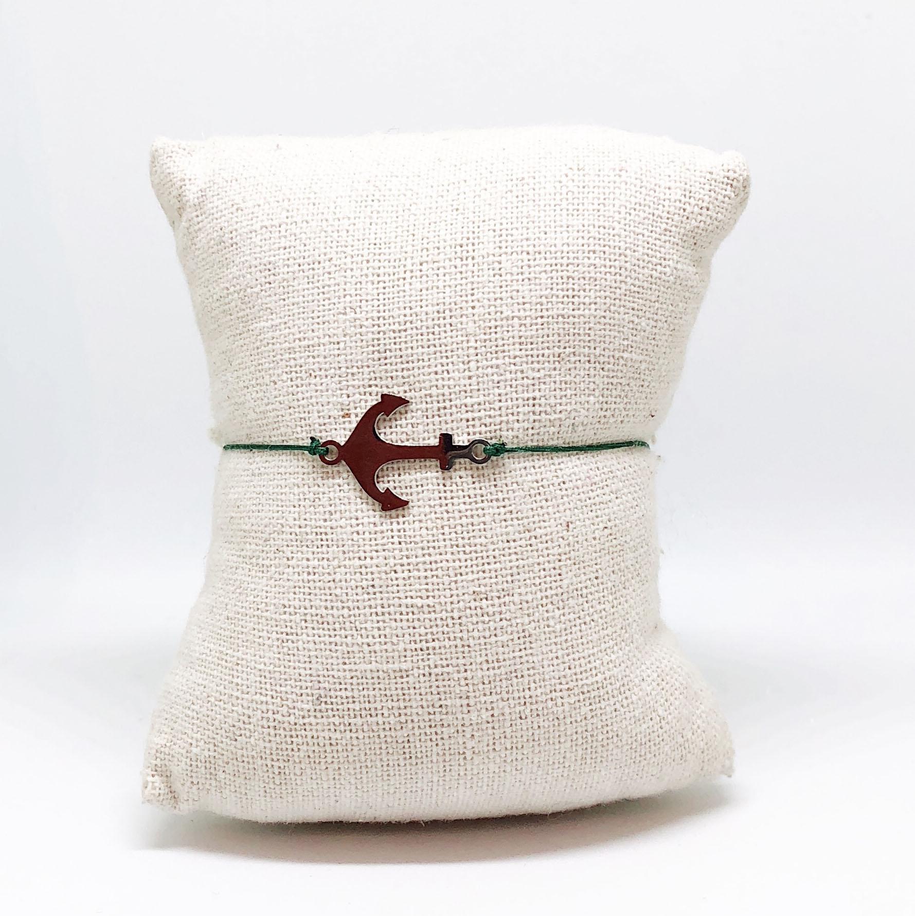 Bracelet Marine - Argenté corde verte