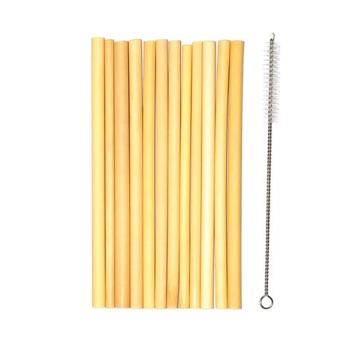 Pailles bambou avec goupillon | Lot de 10