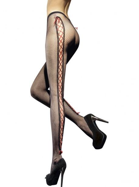 Collant noir transparent avec motifs serpentins Fiore