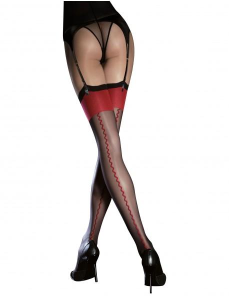 Bas transparents sexy noirs et rouges avec lignes verticales Fiore